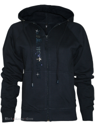 Damen Strass Hoodie Blue Money